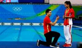 Marriage proposal at medal ceremony